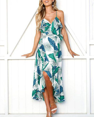 Sexy Evening Vacation V Neck Split Maxi Dresses