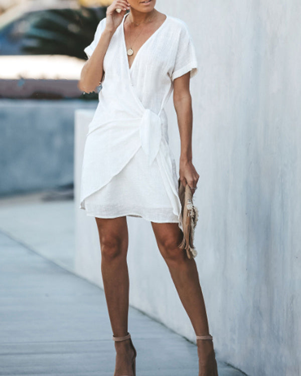 Summer Solid V-Neck Cross Short Sleeved Dress