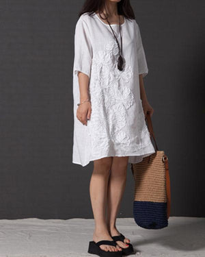 Pure Color Crochet Irregular Short Sleeve Vintage Dress