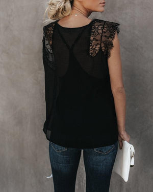Women Fashion Solid V Neck Lace Vest Tops