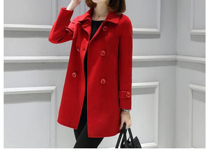Women Long Sleeve Lapel Buttons A-line Coats