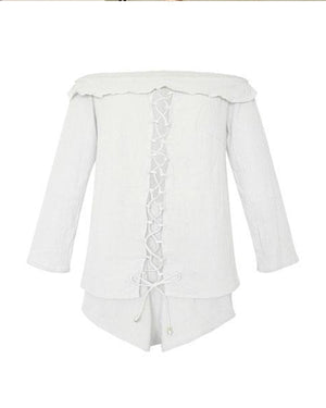 Two Piece Off-The-Shoulder Lace-Up Shorts Sets