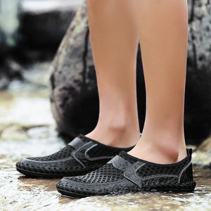 Stitching Mesh Soft Loafers Breathable Outdoor Casual Shoes