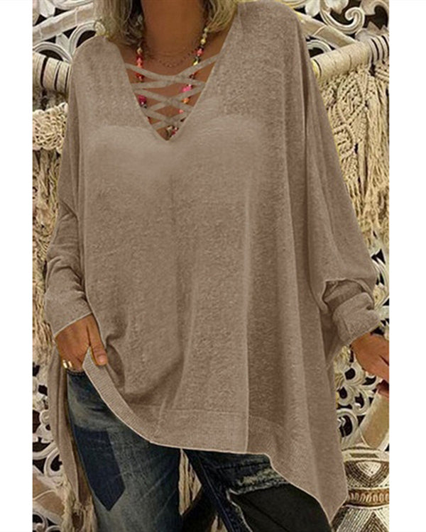 Solid Long Sleeve Holiday Fall Daily Irregular Casual Blouse