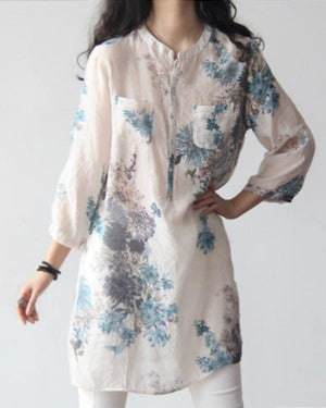 Women Casual Floral Printed 3/4 Sleeve Blouses Tops