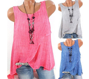 Sleeveless Chiffon Splicing Mesh Halter Plus Size Vest Tops