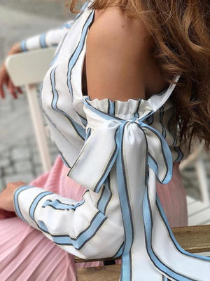 Oblique Collar Long Sleeve Bowknot Stripes Blouses Tops