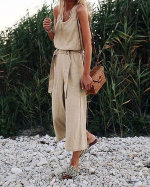 Fashion Solid Sleeveless Vintage Jumpsuits