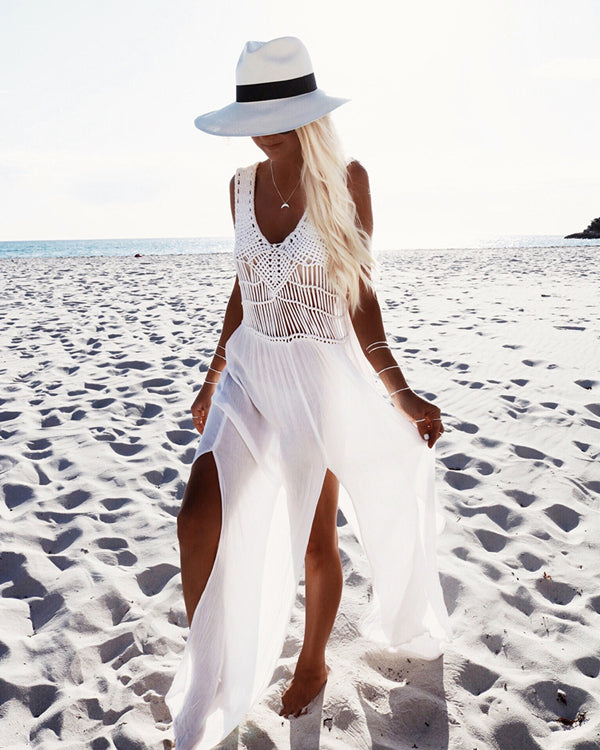 Vacation V Neck Sleeveless Solid Color Beach Dresses