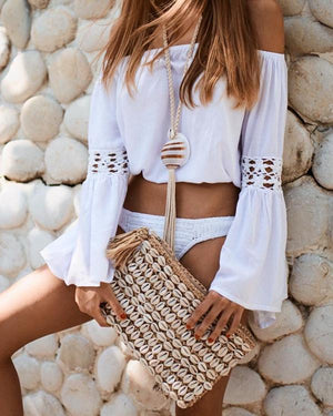 Women Casual Off Shoulder Long Sleeve Solid Blouses Tops