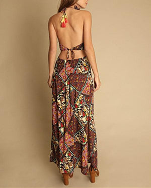 Women Casual Sleeveless Sling Bohemian Hanging Neck Printed Open Back Dress