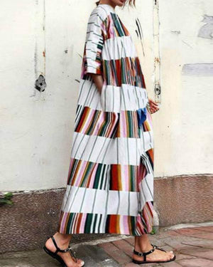Round Neck Half Sleeve Color Block Casual Maxi Dress