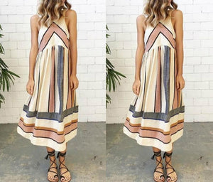 Casual Crew Neck Sleeveless Striped Summer Dress