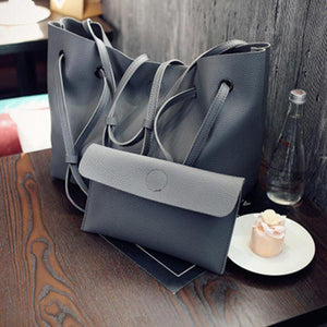 2PCS Large Capacity PU Shoulder Bag with Mini Clutch Purse