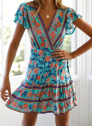 Slim Short Sleeved V-Neck Strap Print Dress