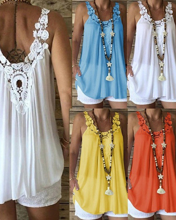 Casual Plus Size Solid Sleeveless Lace Vests Tops