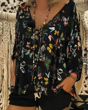 Women Print Floral Butterfly Deep V Neck T Shirts  Long Sleeve Summer Beach Ladies Blouses Bat Sleeve Tops