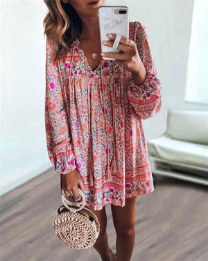 Floral V Neck Women Dresses Shift Daytime  Mini Dresses