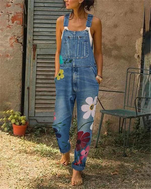 Sleeveless Denim Floral Floral-Print One-Pieces Jumpsuits