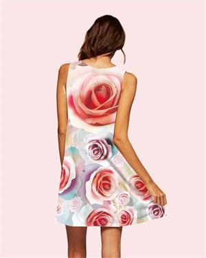 Floral Printed Sleeveless Beach Dress