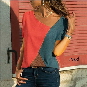 Women Casual Short Sleeve Patchwork V Neck T-Shirts Tops