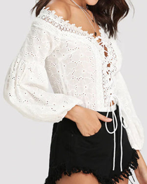 Women V Neck Solid Long Sleeve Lace Siamese Shirts Tops
