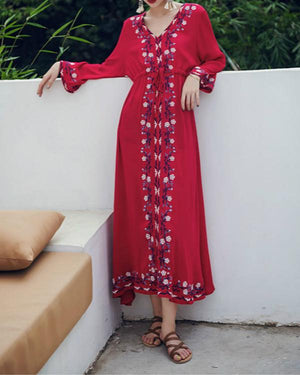 Vintage Ethnic Style V Collar Long Sleeves Slim Vacation Dress