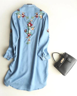 Women Denim Embroidered Long Sleeve Crew Neck Sweet Plus Size Dress