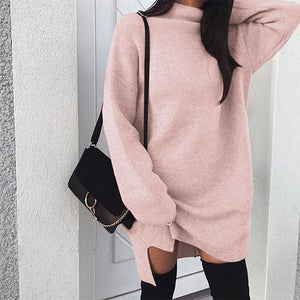 Women Daily Casual Long Sleeve Knitted Solid Dress