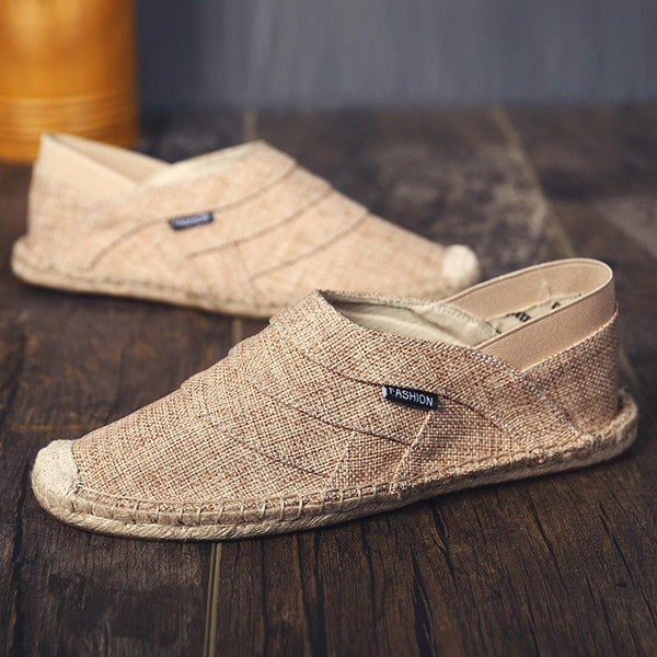 Men Hand Stitching Linen Flat Elastic Slip On Soft Espadrilles
