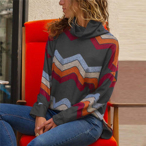 Geometric Printed Casual Long Sleeve Cowl Neck Pullover Tops