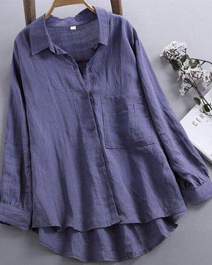 Casual V Neck Pure Color Blouses for Women