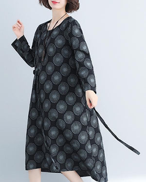Women Cotton And Linen Printed Irregular Long Sleeve Waist Tie Dress