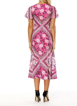 Bohemian Print V-Neck Short-Sleeved Split Dress