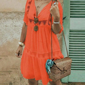 Fashion V Neck Boho Half Sleeve Lace Hollow Dress