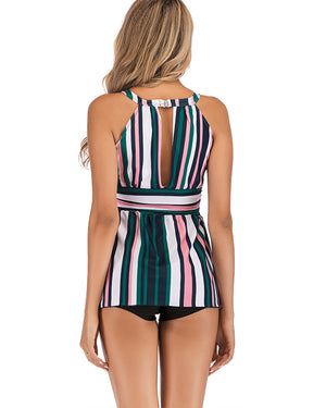 Plus Size Round Neck Striped Swimdress and Shorts