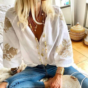 Fashion V Neck 3/4 Sleeve Floral Printed Elegant T-Shirt Top