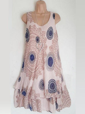 Ethnic Sleeveless Double-layer Print Dresses