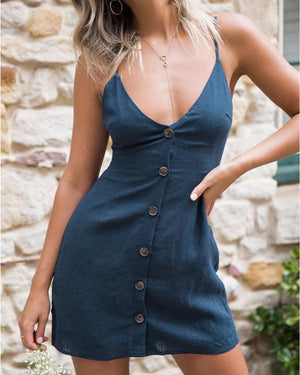 Women Solid Sexy Sling V-Neck Back Strap Single Breasted Dress