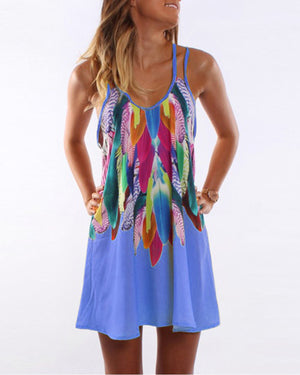 Women Casual Sleeveless Printed Strap Plus Size Dress