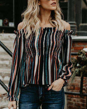 Colorful Striped Off Shoulder Long Sleeved Slim Blouses Tops