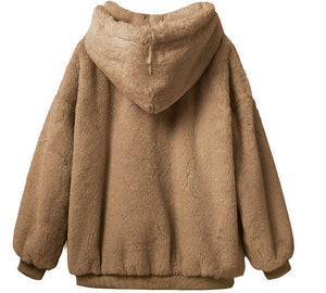 Cozy Fluffy  Hooded Solid Color Autumn Winter Long Sleeve Sweatshirts