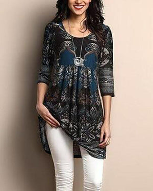 Autumn New Painting Fashion Women Casual Loose Long T-shirt Women Tops