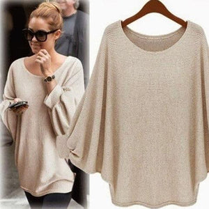 Batwing Solid Crew Neck Knitted Plus Size Sweater