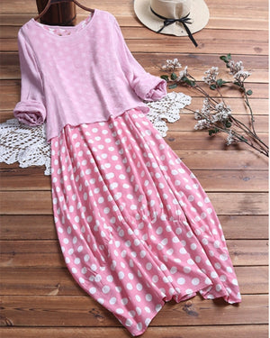 Polka Dot Long Sleeve Women's Two Piece Plus Size Dresses