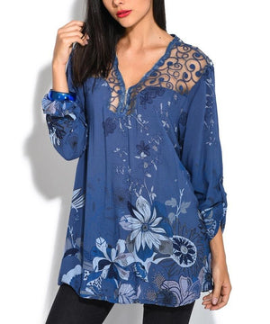 Women Plus size V Neck Lace Long Sleeve Lace Patchwork T-Shirts Tops