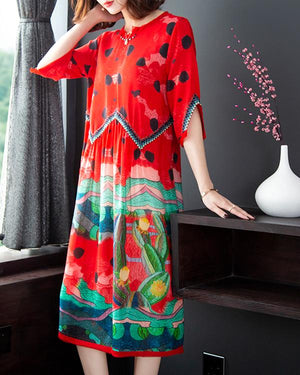 Plus Size Round Neck H-Line Casual Patchwork Dresses