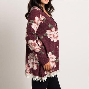 Autumn Long Sleeve Lace Cardigan Women Vintage Floral Printed Jacket