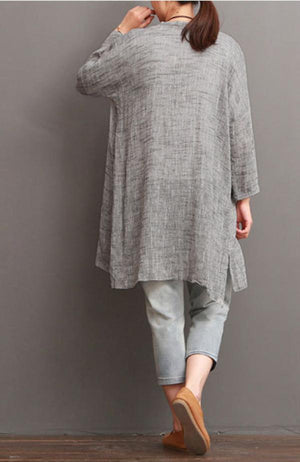 Solid Long Sleeve Simple Slit Linen Blouse Plus Size Tops
