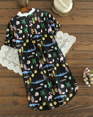 Short Sleeve Animal Printed Turn-Down Collar Irregular Hem Dresses